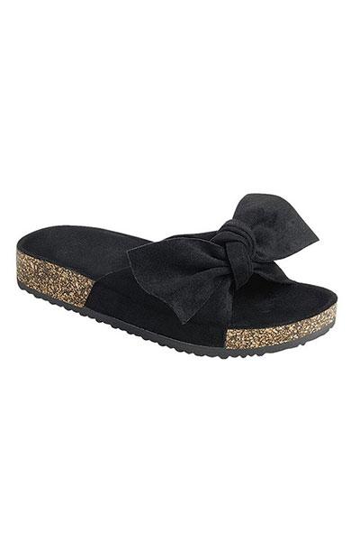 faux suede bow sandals