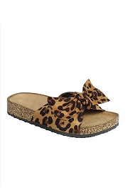 Animal Print Faux Suede Bow Sandals-Leopard Print