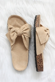 Faux Suede Bow Sandals-Beige Nude