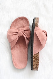 Faux Suede Bow Sandals-Blush Pink Mauve