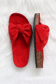 Faux Suede Bow Sandals-Red