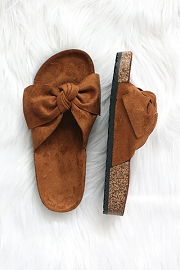 Faux Suede Bow Sandals-Tan Brown