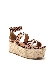 High Platform Two Strap Espadrille Wedge Sandals with Ankle Straps-Leopard Print