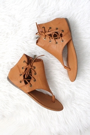 Faux Leather Side Tie Sandals-Brown Tan