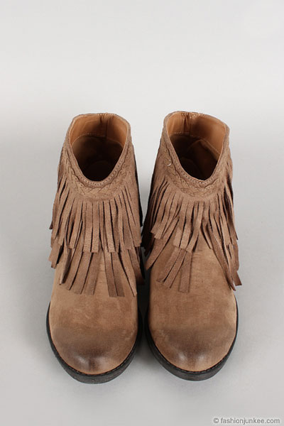 Boho Indie Braided Faux Suede Fringe Ankle Booties Taupe