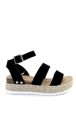 Two Strap Espadrille Platform Flat Sandals with Ankle Strap-Black
