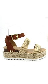 Two Strap Espadrille Platform Flat Sandals with Ankle Strap-Natural Raffia