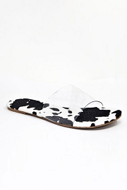 Single Band Clear Sandals Slides-Cow Print Sole