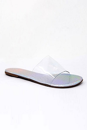 Single Band Clear Sandals Slides-Silver Hologram