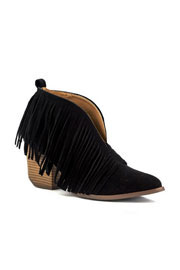 Boho V-Shaped Faux Suede Fringe Ankle Booties-Black