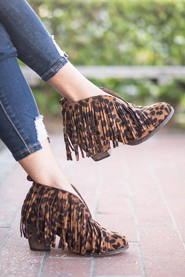 a0c8096912b6 Boho V-Shaped Faux Suede Fringe Ankle Booties-Leopard Print