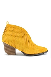 Boho V-Shaped Faux Suede Fringe Ankle Booties-Mustard Yellow