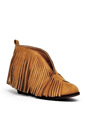 Boho V-Shaped Faux Suede Fringe Ankle Booties-Tan Brown