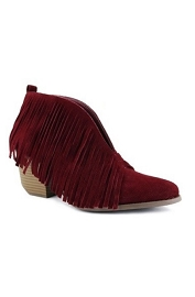 FLASH SALE: Boho V-Shaped Faux Suede Fringe Ankle Booties-Wine Burgundy