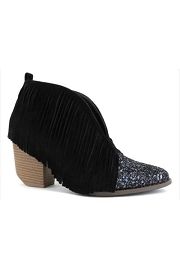 Glitter and Fringe Boho V-Shaped Faux Suede Ankle Booties-Black