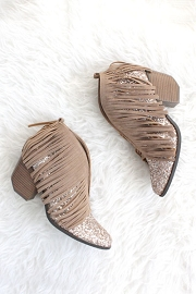 Glitter and Fringe Boho V-Shaped Faux Suede Ankle Booties-Taupe