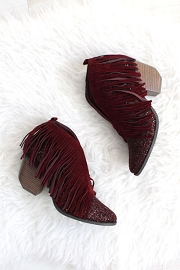 Glitter and Fringe Boho V-Shaped Faux Suede Ankle Booties-Burgundy Wine