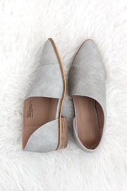 Closed Toe Faux Leather Side Cutout Flats-Grey