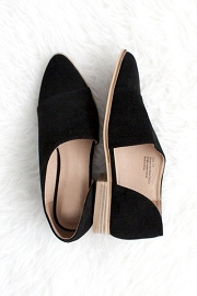 Closed Toe Faux Suede Side Cutout Flats-Black