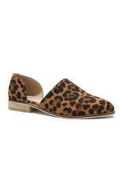 Faux Suede Side Laser Cut Closed Toe Animal Print Flats-Leopard Print