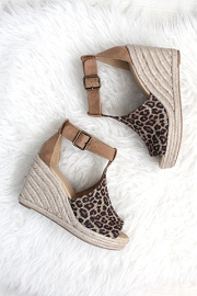Perforated Faux Suede Open Toe Ankle Strap Platform Wedge Espadrille Sandals-Leopard Print