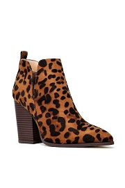 Closed Toe Side Cutout Block Heel Ankle Booties-Leopard Print