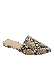 Closed Toe Pointy Toe Flat Mules Slides-Natural Snake Print