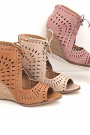 Lace Up Geometric Cutout Perforated Wedge Sandal-Nude Natural
