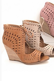 Lace Up Geometric Cutout Perforated Wedge Sandal-Tan Brown