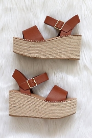Espadrille High Platform Wedge Sandals with Ankle Strap-Tan Brown