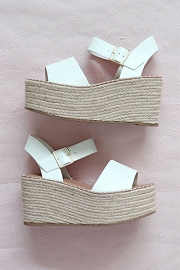 Espadrille High Platform Wedge Sandals with Ankle Strap-White