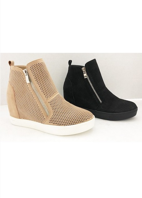 c20b04d49a36 High Top Perforated Wedge Sneakers with Zipper Detail-Beige