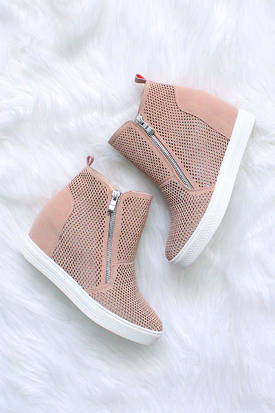 7146382abd1 High Top Perforated Wedge Sneakers with Zipper Detail-Blush Pink