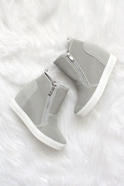 70d9bde6ee8 High Top Perforated Wedge Sneakers with Zipper Detail-Grey