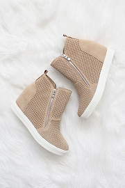 High Top Perforated Wedge Sneakers with Zipper Detail-Beige