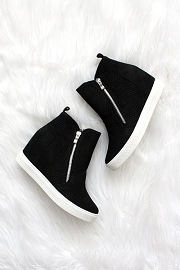 High Top Perforated Wedge Sneakers with Zipper Detail-Black with White Sole