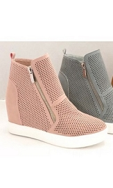 High Top Perforated Wedge Sneakers with Zipper Detail-Blush Pink