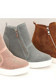 High Top Perforated Wedge Sneakers with Zipper Detail-Grey
