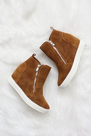 High Top Perforated Wedge Sneakers with Zipper Detail-Brown Tan