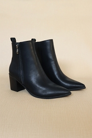 Pointy Toe Faux Leather Zipper Ankle Booties-Black