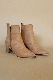 Pointy Toe Faux Leather Zipper Ankle Booties-Camel Brown