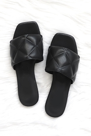 Quilted Sandal Slides-Black