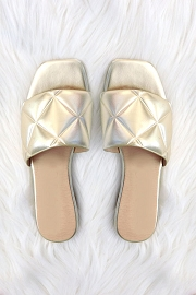 Quilted Sandal Slides-Metallic Gold
