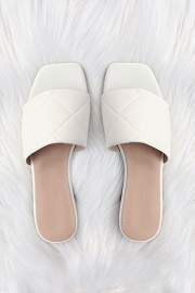 Quilted Sandal Slides-White