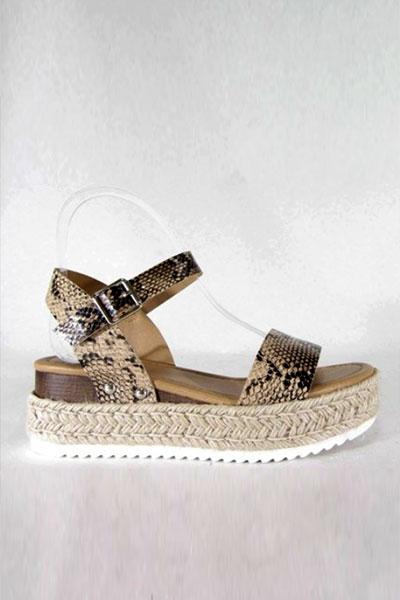 016d45c6f7c FLASH DEAL: Espadrille Low Platform Flats Sandals with Ankle Strap-Dark  Python Snake Print