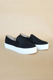 Snake Textured Casual Platform Slip On Shoes Sneakers-Black