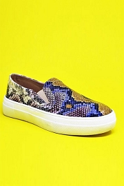 Snake Textured Casual Platform Slip On Shoes Sneakers-Multi Color Snake Print