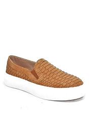 Snake Textured Casual Platform Slip On Shoes Sneakers-Tan Brown