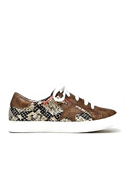 Lace Up Low Top Star Sneakers-Brown Snake Print
