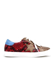 Lace Up Low Top Star Sneakers-Red Snake